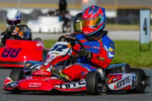 David Vasquez on his way to a third place finish in the 40 kart Briggs Senior field