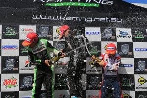 The champagne flowed on the Cadet 12 podium (Pic: Coopers Photography)