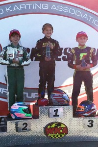 Gafrarar celebrates his first WKA Manufacturers Cup Series Mini Swift victory