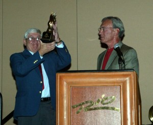Janowski received an award from Jim Murley during the SKUSA ProMoto Tour banquet in 2001, honoring his dedication in founding the organization (Photo: Jeff Deskins)