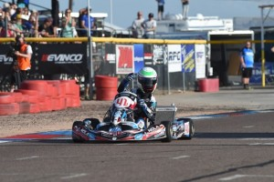 Braden Eves scores the X30 Senior victory for MDD at the SKUSA SpringNationals in Phoenix  (Photo: On Track Promotions - OTP.ca)