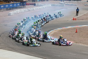 The starts for Junior, Mini and Micro were moved to the front straight toward the end of Saturday (Photo: EKN)