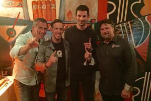 Indy 500 celebration with Pieter Rossi, Jaskol, Rossi and Michael Andretti (Photo: Matt Jaskol)
