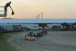 Ty Bass leads Flathead racers to the green on a restart (Photo: Bruce C. Walls/Action Sports Photos)