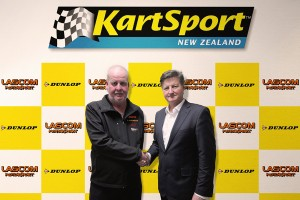 Brian Waldmeyer, Director Lascom Motorsport and Graeme Moore, National President KartSport New Zealand at the contract signing (Photo: Fast Company/ Mark Baker)
