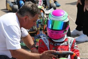 TJ Patrick with Cadet racer Rylee Engel (Photo: Kathy Churchill - USPKS)