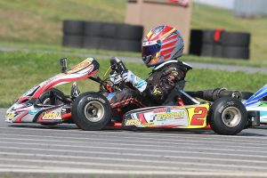 Russell Karting Specialties / Parolin / Woltjer Racing Engines driver Caleb Gafrarar nearly pulled off his second WKA Manufacturers Cup Series victory, placing runner-up in Pittsburgh (Photo: eKartingNews.com)