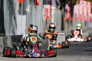 Christchurch karter Matthew Hamilton claimed a clean sweep in the premier S1 class at the Streets of Lancaster Grand Prix kart meeting in California on Saturday (Photo: DromoPhotos.com)