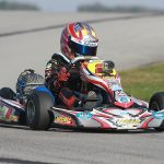 Caleb drove to his first ever victory in the Mini Swift division at the WKA Manufacturers Cup Series Grand Nationals in New Castle, Indiana (Photo: eKartingNews.com)