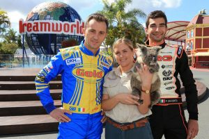 Five-times World Karting Champion Davide Forè (left) and reigning World Champion Paolo De Conto were welcomed to the Gold Coast this morning (Pic: Coopers Photography)