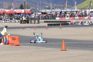 Oliver Calvo came through to secure the checkered flag in X30 Junior (Photo: Kart Racer TV)