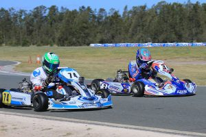Jace Matthews and Broc Feeney side by side as they crossed the line in the KA2 final  (Pic: Coopers Photography)