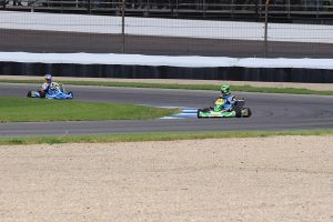 Daly and AJ Noud navigating the Indy GP course inside the IMS facility (Photo: Mike Burrell)