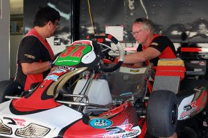 Don Guilbeault and the DRT Racing team making sure Formal is ready to go for qualifying (Photo: EKN)