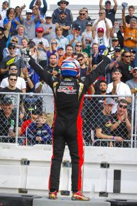 Formal celebrating the victory in front of the finish line grandstands (Photo: On Track Promotions - otp.ca)