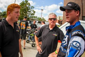 A quick debrief with Margay's Greg Dingess and veteran Rick Fulks (Photo: Mark Schwigen)
