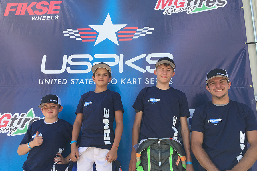 Brent Crews, Santiago Trisini, Maks Kowalski and Brandon Jarsocrak will represent the USPKS at the IAME International Final in October (Photo: EKN)