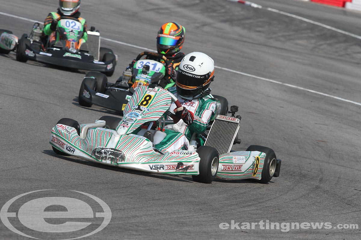 Gray Leadbetter become the first female driver to win in the IAME Junior division at USPKS (Photo: EKN)