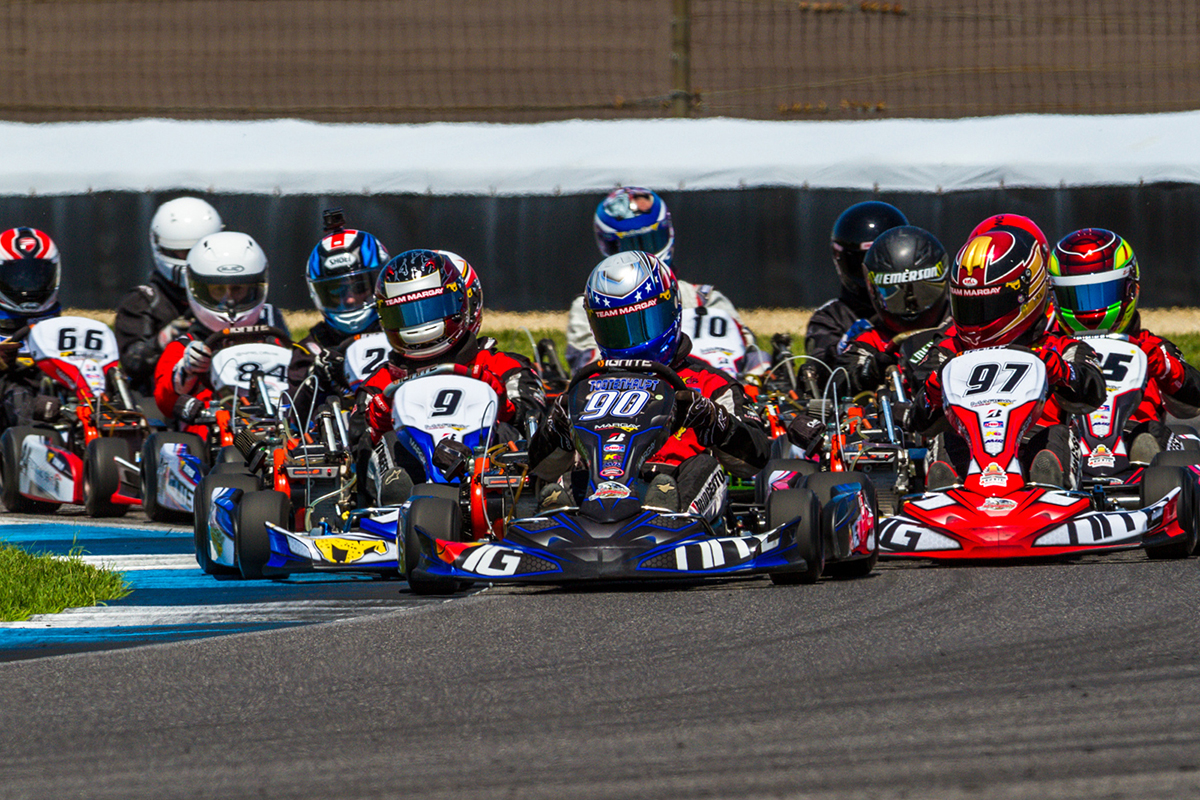 The 46 kart ignite senior class takes the green flag at indianapolis motor speedway photo margay racing