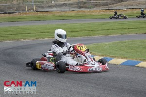 Mason Buck landed the victory in the opening round of the Junior Max category (Photo: Dalton Egger - CanAmKartingChallenge.com)