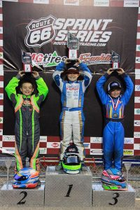 Kaden Wharff won his six IAME Cadet main event to lock up the title (Photo: Kathy Churchill - Route66SprintSeries.com)