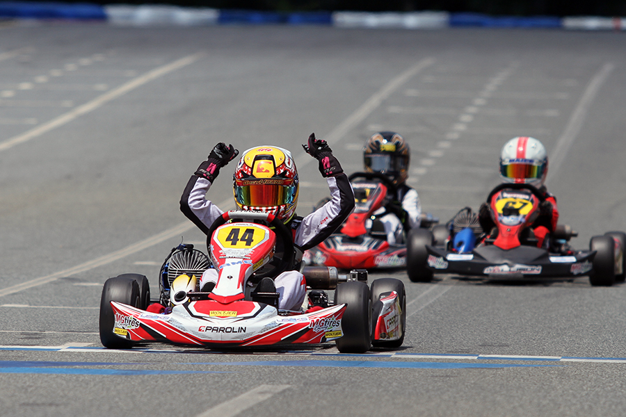 Caleb Gafrarar led the one lap, the last lap to earn his second victory on the season in Micro Swift (Photo: EKN)
