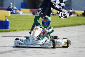 A sweep on Saturday gave Aiden Levy his first series victory in KA100 Senior