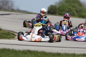 Kai Johnson drove to the checkered flag first in the Mini Swift class for his first series win