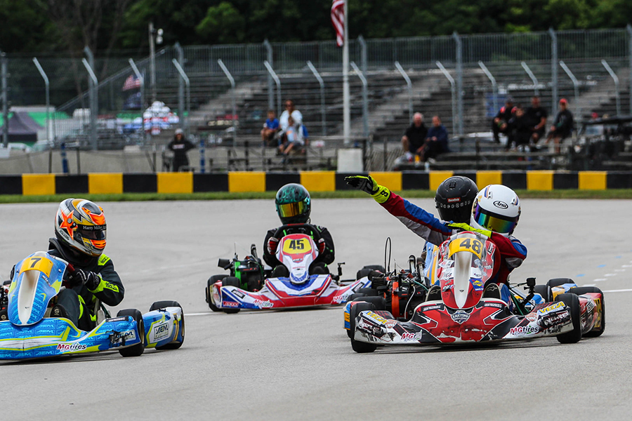 James Overbeck doubled up in Briggs 206 Junior, including this photo finish on Sunday (Photo: AG Digital Content)
