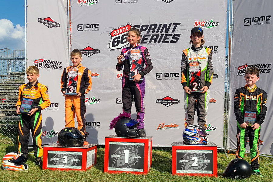Ava Hanssen won twice on the weekend in Briggs 206 Sportsman to clinch the series championship (Photo: Route 66 Sprint Series)