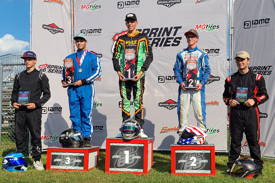 Bryce Mersberger locked up the Briggs 206 Medium title with two wins in Dousman (Photo: Route 66 Sprint Series)